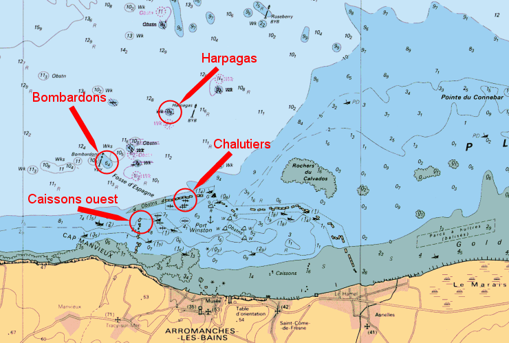 Carte Arromanches - Port Winston